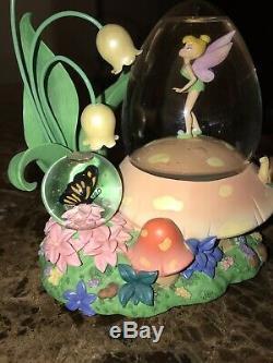 Disney Tinker Bell Musical Retired Double Snow Globe Rare