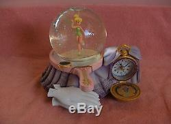 Disney Tinker Bell Snow Globe Clock Music Plays On The Hour Adult Owned NICE