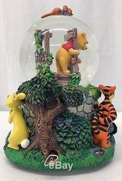 Disney Winnie the Pooh Bridge Snowglobe (Snow Globe) Music Box FREE SHIPPING