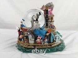 Disney's MICKEY'S 75th ANNIVERSARY STEAMBOAT RIDE Musical, Lighted Snow Globe