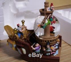 Disney's Peter Pan Snow Globe Captain Hook & Tinker Bell On Pirate Ship Music