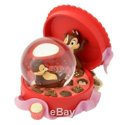 Disney store Anniversary 25th Chip & Dale Snow Globe Dome ball Music Box