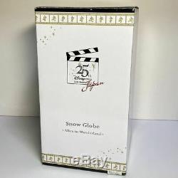 Disney store Japan 25th Anniv. Alice in Wonderland Snow Globe Dome Music box JP