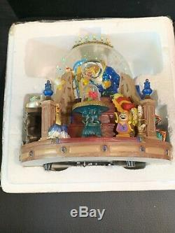 Disneys Beauty and the Beast Snow Globe Music Box with Working Lighted Fireplace