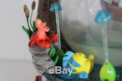 LITTLE MERMAID Rare Large Kiss the Girl Disney Store Musical Snow Globe F228