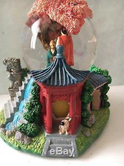 Mulan Disney Rare Snow Globe Rotating Base Cherry Blossom Musical Figure Mint