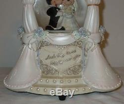 NEW LARGE Disney Mickey & Minnie Mouse Snow Globe Music Box Wedding Cake Topper