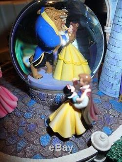 New Disney Multi Princess Prince Musical Waltzing Castle Royal Ball Water Globe