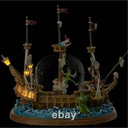 New Disney Peter Pan Captain Hook Pirate Ship Snow Globe With A Music Box