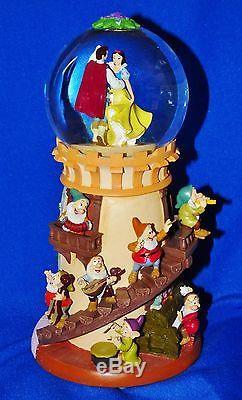 Nib'91 Rare Disney Snow White & Seven Dwarfs 12 Snowglobe Lights Music Motion