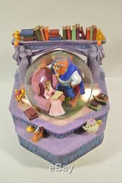 RARE 1991 Disney Beauty And The Beast Musical Snow Globe Belle Reads Snowglobe