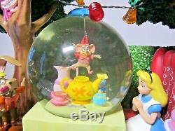 RARE DISNEY Alice in Wonderland Tea Party Musical Snowglobe UNBIRTHDAY SONG