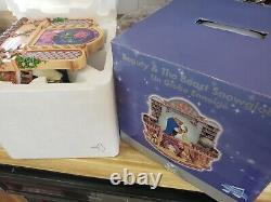 RARE DISNEY BEAUTY AND THE BEAST LIBRARY SNOW GLOBE MUSICAL withblower movement