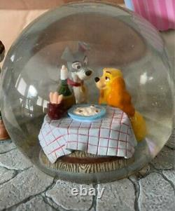 RARE DISNEY MUSIC SNOW GLOBE LADY AND THE TRAMP Limited Edition