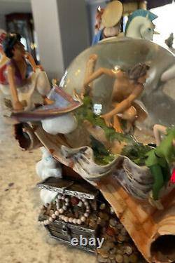 RARE Disney Aladdin Peter Pan Hercules Tarzan Adventurers Light Music Snow Globe