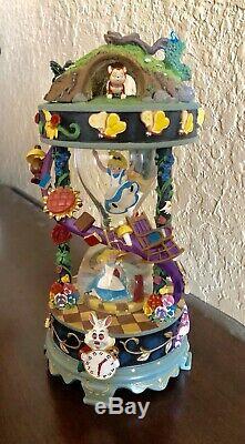 RARE Disney Alice In Wonderland Hourglass Snowglobe Music Box
