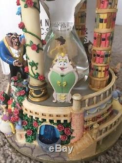 RARE Disney Beauty and the Beast Hourglass Musical Light-Up Snowglobe