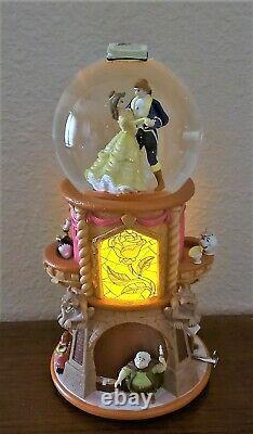 RARE Disney Beauty and the Beast Music Snow Globe Pedestal NWOB