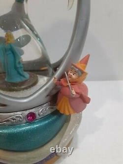 RARE Disney Fairy Fairies Godmothers Hourglass Hour Glass Snow globe Musical