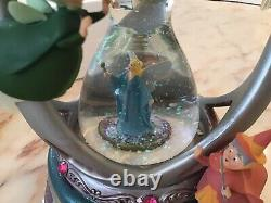 RARE Disney Fairy Fairies Godmothers Hourglass Hour Glass Snowglobe Lights Music