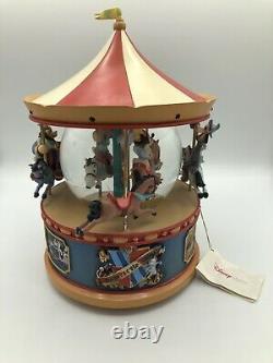 RARE Disney Mickey Mouse Carousel Snowglobe Music Box