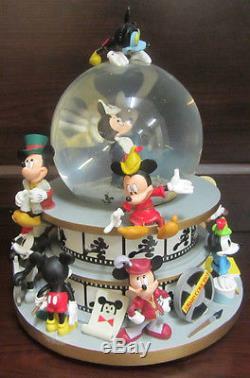 RARE Disney Mickey Mouse Through the Years Film Strip Snowglobe Music Box Figure