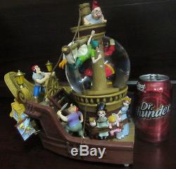 RARE Disney Peter Pan Captain Hook Jolly Roger Pirate Ship Snowglobe Music Box
