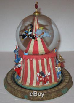 RARE Disney Store Dumbo the Flying Elephant Musical Snow Globe Casey Jr Train