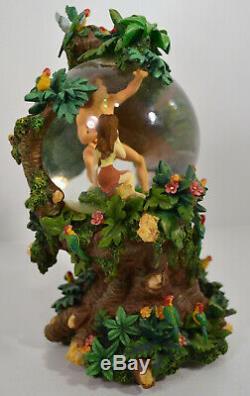RARE Disney Tarzan Jane Figure Blossoming Love Tree Two Worlds Musical Snowglobe