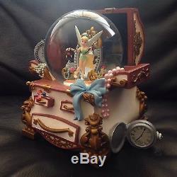 RARE Disney Tinker Bell THE HIDDEN PLACE Jewelry Box Musical Snowglobe-MIB