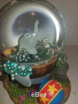 RARE Dumbo Takes A Bath Musical Snow Globe disney snowglobe bubbles