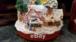 RARE Musical Disney DOUBLE SNOW WATER GLOBE Tinkerbell Rotates on Top of TREE