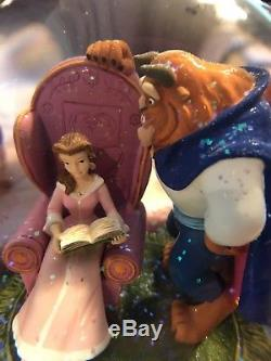 Rare 1991 Disney Beauty and the Beast Library Snow Globe Musical Collectible