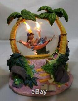 Rare Disney Lilo and Stitch Snow Globe Musical Aloha Oe 8 tall Torches Work
