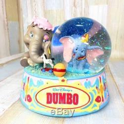 Rare! Disney Parent & Child dumbo Jumbo Snow Globe Dome Figure Music Box