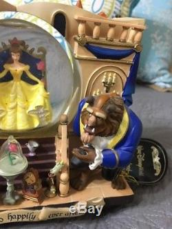 Rare Disney Parks Story Book Snow Globe Beauty & The Beast 2 Sided Musical