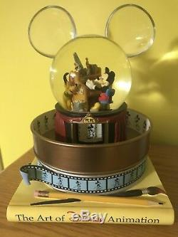 Rare Disney The Art Of Disney Animation Mickey & Pluto Musical Snowglobe