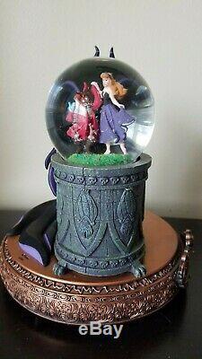 Rare Maleficent Aurora Disney Villains Musical Rotating Snow Globe 2006