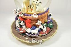 Rare Vintage 1989 Disney 101 Dalmatians Snow Globe Music Box Pups Dogs