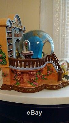 Rare Vintage Beauty And The Beast Library Musical Snow Globe VHTF Belle Disney