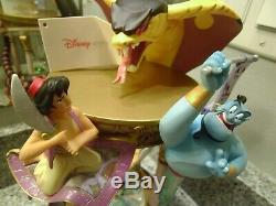 Rare Walt Disney World Aladdin Hourglass Snowglobe Lights & Music Genie Jafar