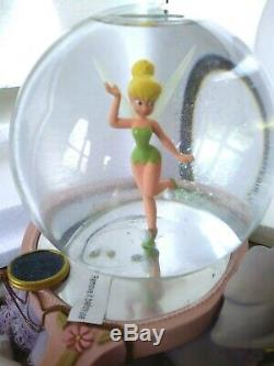 Tinker Bell Disney Store Musical Peter Pan Snow Globe With Clock, Blower, New Mib