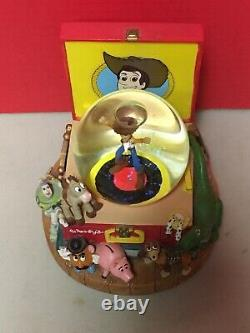 Toy Story 2 Woodys Deputy Roundup Record Player Snow Globe Music Box Disney