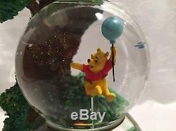 Very Rare! Winnie the Pooh and Friends Double MUSICAL Snowglobe Tree Disney HTF