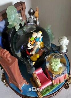 Vintage Disney Haunted Mansion Mickey, Goofy, & Donald Musical Snow Globe RARE