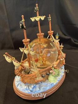 Vintage Disney Peter Pan Captain Hook Pirate Ship Musical Snowglobe You Can Fly
