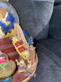 Vintage Rare Disney Beauty and The Beast Music Snow Globe Fireplace Lights Up