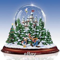 Walt Disney Christmas Snow Globe Musical Lighted Holiday Sculpture NEW
