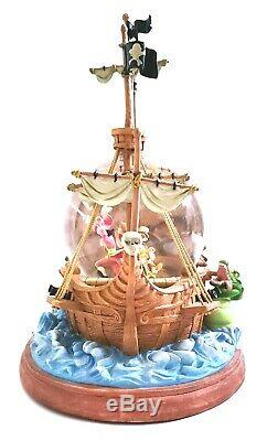Walt Disney Peter Pan Captain Hook Pirate Ship Musical Snowglobe You Can Fly