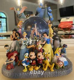 Walt Disney Snow Globe 10 Music Box Collectors Castle with Snow Blower